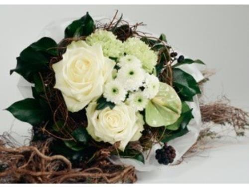 Bouquet mixte en blanc