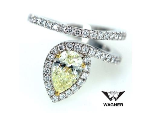 Yellow diamond rings in ruby, sapphire and emerald surrounded with diamonds.