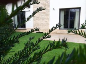 Aménagement gazon terrasse granit