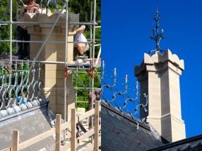 Restaurierung. Neue Dächer