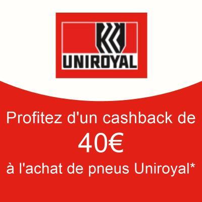 CASHBACK jusqu'a 40€ Pneus Uniroyal